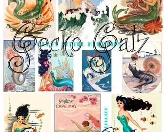 Merry Little Mermaids Digital Collage Sheet