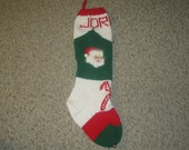 Vintage Personalized Hand Knit Christmas Stocking / Sock for Christmas 2017