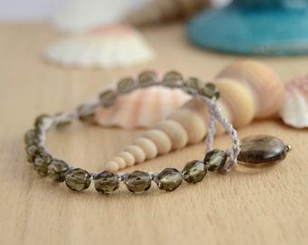 Beaded nylon crochet bracelet. Grey and silver. Beach boho glam