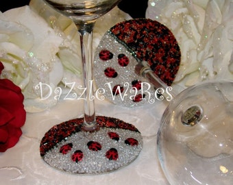 LADY BUGS Beaded Wine Glass Set of 2 -Hand Beaded-Gifts-Special Occassion-Hostess Gift-Wedding-Birthday-Anniversary-Home Decor-Summer-Spring