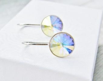CLEARANCE Crystal Earrings Sterling Silver Swarovski Crystal AB Rivoli Bridal Bridesmaid Wedding Dangle Earrings Minimalist