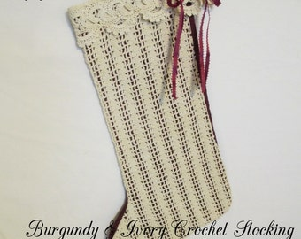 CHRISTMAS,  STOCKING,  BURGUNDY, Fabric,  Ivory,  Vintage,  Crochet,  Holiday Décor, Home Decor, Gift Item