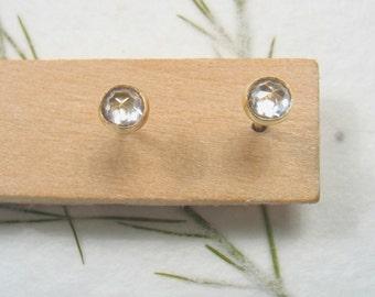 3mm rose cut Cubic Zircon  , solid 9k yellow gold studs earrings, Mother day earrings, instead of diamonds.