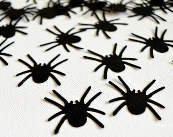 Black Spider Confetti - Itsy Bitsy Spider Cutouts - Scrapbook Embellishment Spiders - Halloween Party Table Scatter Spiders 100 Pcs