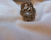 Ring, 925 Silver Ring, Silver And Marcasite Ring, Size 7. ON SALE
