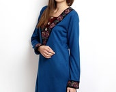 Women Blue Embroidered Kurta