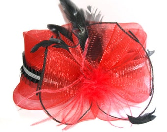 Red Fascinator with feathers and ribbon
