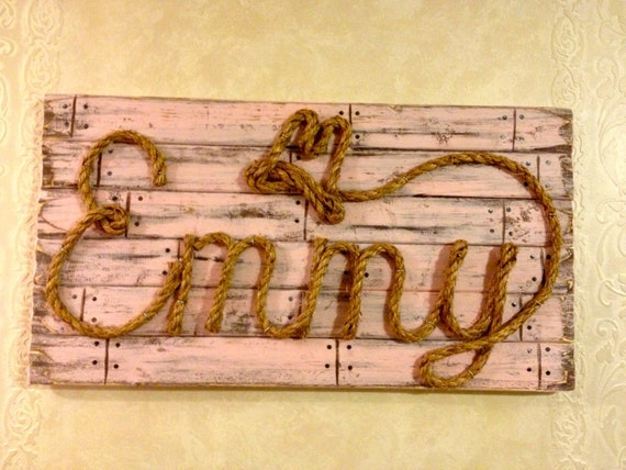 COLORED Western Wood Rope Name Sign Baby Country by MemoryScapes