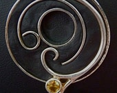 10% off on this item - Modern yet vintage fun silver metal swirls embedded in epoxy clay necklace