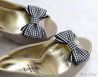 Black Gingham Shoe Clip, Black & White Bow Shoe Clips, Black Retro Pin Up Girl Bow Clip Shoes