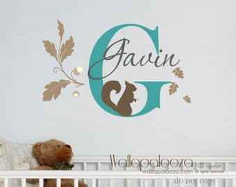 Squirrel wall decal - baby squirrel decal - nursery wall decal