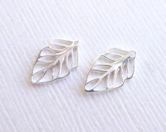 Sterling Silver Leaf Charms -- Two Pieces -- Small 925 Sterling Leaf Connectors-- Links
