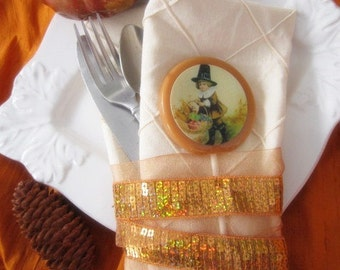 Thanksgiving Gourmet Lollipops (8) -  Pilgrim - Thanksgiving Place Setting Decor - Thanksgiving Favors - Vintage Thanksgiving