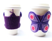 Butterfly Coffee Cozy, Coffee Sleeve, Java Jacket, Crochet Animal Can Cozy, Travel Drink Cup Holder