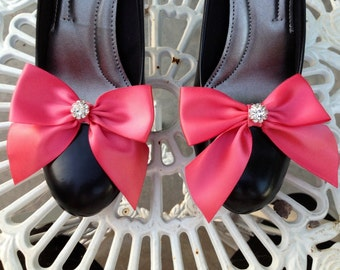 Coral Wedding Shoe Clips.. Coral Satin Bow...