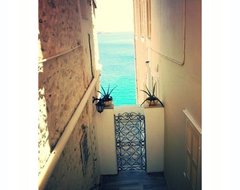 turquoise water - door home decor- Greek wall art- Syros photography- plants seawater- home at  sea- stairs home photo-  blue vanilla