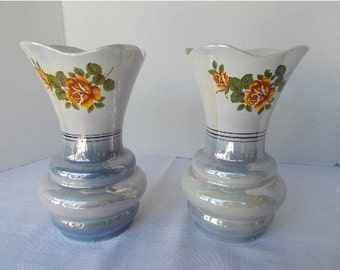 Vintage Vases Blue and White Luster Finish with Yellow Roses Stamped #4045 Made in Brazil with Flared Top Ribbed Base