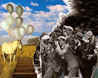 Surreal Balloon Horse Collage Art Prints