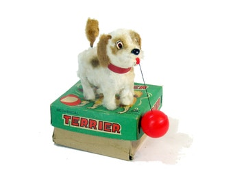 Vintage Toy, Wind-up, Dog, Terrier, Japan, Alps Toy, Box, Retro, Antique 50-75 years, Collectible