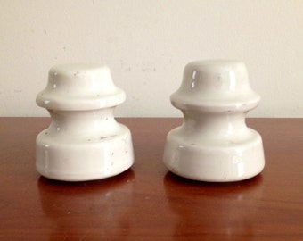 Pair of Two Antique Porcelain Insulators