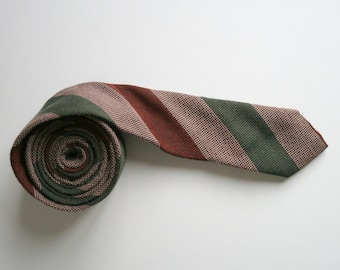 Striped skinny necktie, 80's vintage necktie, dark blue and green