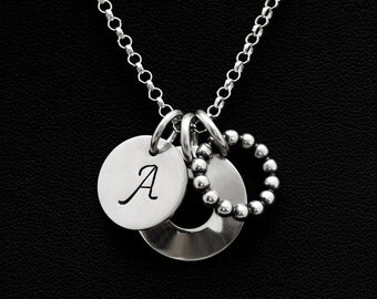 Personalized Letter Initial Sterling Silver Pendant - Domed Disc Charm Necklace - Beaded Ring Charm Pendant - Sterling Silver Charm Necklace