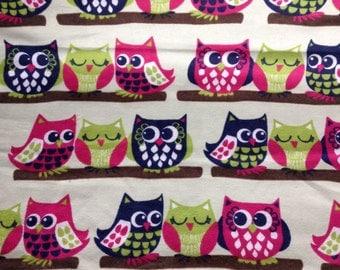FLANNEL - Pretty Colorful Owls - Owl Fabric