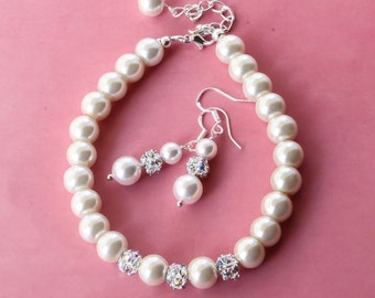 CUSTOMIZABLE  - Pearl Jewelry sets with Bracelet and Earrings, Bridal bracelet, Bridesmaids gift