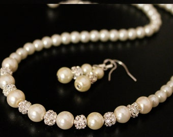 Cream pearl Jewelry Set, Pearl silver or Gold necklace with earrings, Pearl Jewelry Set, Bridesmaid gift classic pearl necklace