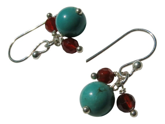 20% off SALE -- Genuine Turquoise Round Beads And Carnelian Faceted Beads Earrings In Sterling Silver