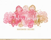 Watercolor Doilies Premade Logo with Lace and Calligraphy design in Gold