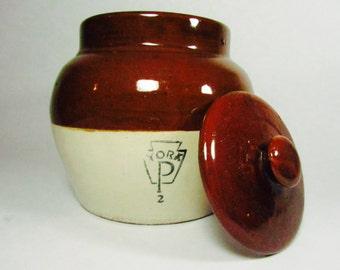 Vintage Glazed Ceramic York Baked Bean Pot with Lid