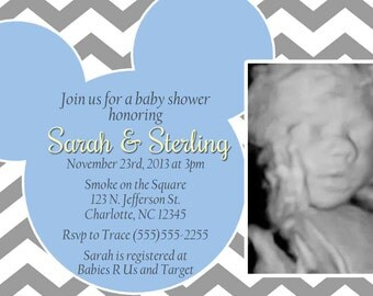 Mickey Baby Shower Invitation - Blue or Teal and Gray Chevron