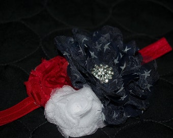 Patriotic Red, White & Blue Fourth of July Triple Flower Headband-Photoprop-Baby