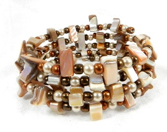 Bead Bracelet, Shell Beads, Angular Shape, Modern Bracelet, Champagne Colored, Glass Bearl, Bronze Color, Seed Beads, Mother of the Bride