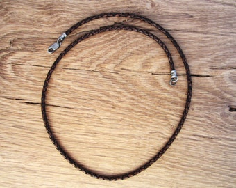 Mens Leather Braided Bolo Cord Necklace -  Pure Sterling Silver Antiqued Clasp/ends