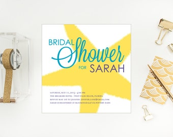Square Beachy Bridal Shower Invitation - Starfish Burst