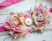 Hot Pink and Multi Color Shabby Chic Headband