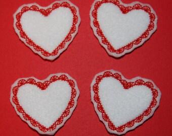 Set of 4 White Heart Valentine Feltie Felt Embellishments
