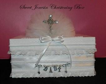White Christening Baptism Baby Shower Card Box Baby Boy Baby Girl