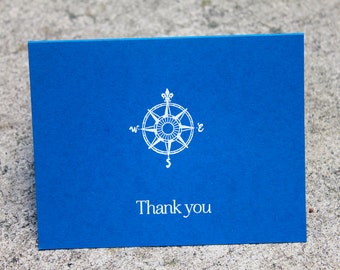 compass nautifal Wedding Thank You Cards, Thank you note, nautical stationary, sailing, compass thank you, Blue and White sailing wedding