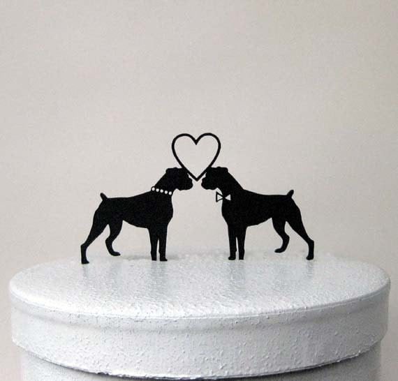 Wedding Cake Topper With Boxer Dog