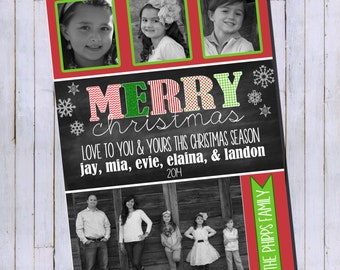 Photo Christmas Card | Chevron Chalkboard | Photo Holiday Card | Digital Christmas Card {P10}