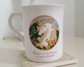 Vintage White Unicorn coffee cup with rainbows by Hallmark