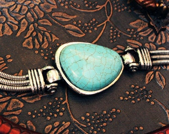 Simple Turquoise Bracelet Southwestern tribal jewelry