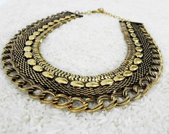Gold Caravan Statement Necklace Ethnic Tribal Jewelry