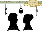Digital Clipart - Silhouette Victorian Cameo Couple - Clip art for scrapbooking, wedding invitations, Personal and Small Commercial Use