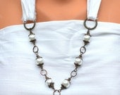 REDUCED Rustic Bridal Necklace- Pearl Antique Brass- White Silk - Crystal- Elegant - Country Wedding