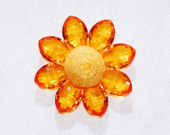 2 Inch Orange Acrylic Flower Sunflower Daisy Flat Back Embellishment Sparkle Cabochon Decoden Kawaii