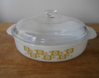 Atomic Milk Glass Casserole with Gold Starburst Motif and Lid